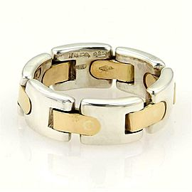 Tiffany & Co. Sterling 18k Yellow Gold 7mm Wide Flex Band Ring Size 5