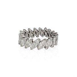 Platinum 4 Carats Marquise Diamond 6mm Wide Eternity Band Ring Size 4.5