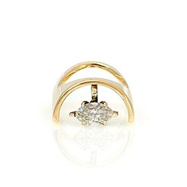 Vintage Marquee Diamond Solitaire 14k Yellow Gold Unique Ring Size 4