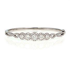 Modern 2.30ct Diamond 18k White Gold Rosette Bangle Bracelet