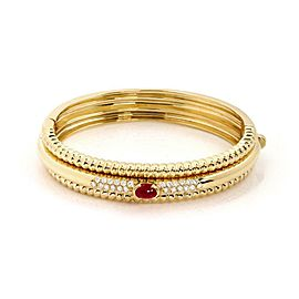 Piaget 1.50ct Diamond & Ruby 18k Yellow Gold Fancy Bangle Bracelet