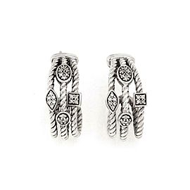 David Yurman Confetti Diamond 925 Silver 3 Row Curved Cable Oval Earrings