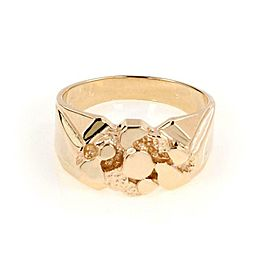 New Men's 14k Yellow Gold Nugget Ring Size - 9