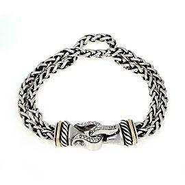 David Yurman Diamond Sterling Silver 18k Gold Double Chain Bracelet