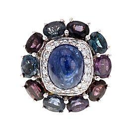 Estate 9.30ct Multi Color Sapphire & Diamond 18k White Gold Ring Size - 7