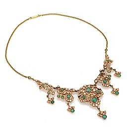 Vintage 3 Carats Emerald Seed Pearls 14k Gold Floral Necklace