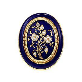 Vintage Diamond 18k Yelow Gold Floral Enamel Large Oval Ring Size 7