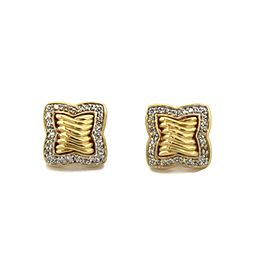 David Yurman Diamond 18k Yellow Gold Quatrefoil Stud Earrings