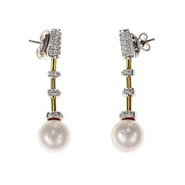 Fabulous 1.00ct Diamond South Sea Pearls 18k Gold Fancy Dangle Earrings