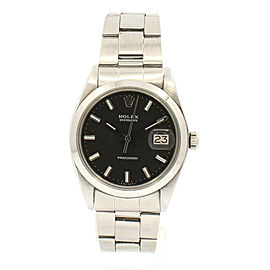 ROLEX OysterDate Precision 6694 Stainless Steel Black Dial Watch