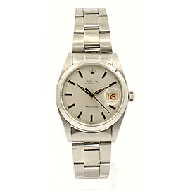 ROLEX OysterDate Precision 6694 Stainless Steel Silver Dial Roulette Date Watch