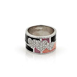 18k White Gold Diamond & Enamel 13mm Wide Band Ring Size - 8