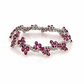 26ct Ruby & Diamond 14k White Gold Fancy Floral Link Bracelet