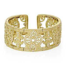 Judith Ripka 3.00ct Diamond 18k Yellow Gold Fleur de Lis Wide Cuff Bracelet