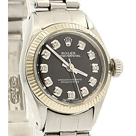 ROLEX Oyster Perpetual 25mm Black Dial Diamond Stainless Steel Ladies Watch