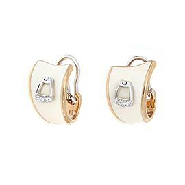 Roberto Coin Diamond Enamel 18k Gold Saddle Stirrup Huggie Earrings