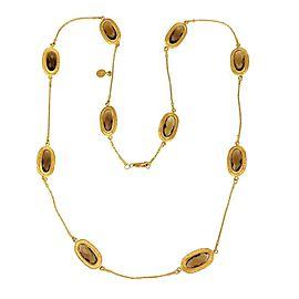 Gurhan Smoky Quartz 24k Yellow Gold Oval Station Straw Link Necklace