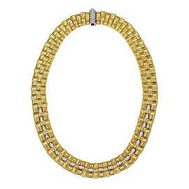 Roberto Coin Appassionata 1.50ct Diamond 18k Gold Basket Weave Necklace