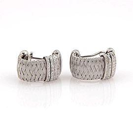 Roberto Coin 18K White Gold Silk Weave Diamond Huggie Earrings