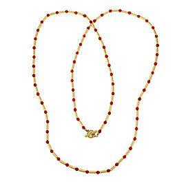 "David Yurman Coral 18k Yellow Gold Bead Cable Tube Link Long Necklace 36.5"""