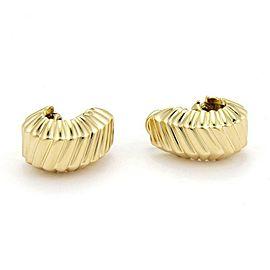 Tiffany & Co. 18k Yellow Gold Fancy Ribbed Design Post Clip Huggie Earrings