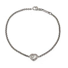 Chopard Happy Diamond 18k White Gold Heart Charm Chain Bracelet W/Certificate