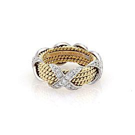 Tiffany & Co. Schlumberger Diamond Platinum 18k 4 Row X Band Ring Size 5