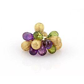 Amethyst & Peridot Briolette 18K Yellow Gold Italian Bead Ring
