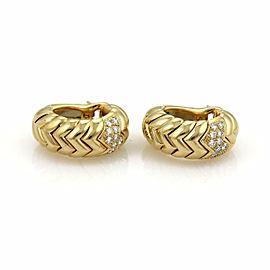 Bulgari Bvlgari SPIGA Diamond 18k Yellow Gold Curved Hoop Earrings