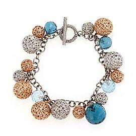 Roberto Coin Diamond Blue Topaz Bead 18k Gold Filigree Ball Charms Bracelet