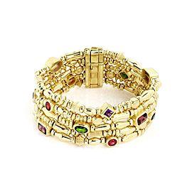 Seidengang 11 Carats Tourmaline & Amethyst 5 Row Strand 18k Gold Bracelet