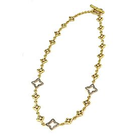David Yurman 1.25ct Diamond 18k Two Tone Gold Quatrefoil Link Necklace