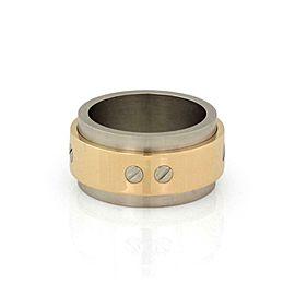 Cartier Santos 100 Love 18k Gold & Steel 12mm Wide Band Size 57 - US 8.25