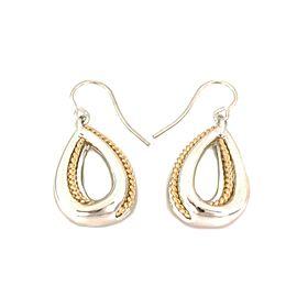 Tiffany & Co. Vintage 18k Gold 925 Silver Pear Shape Hook Dangle Earrings