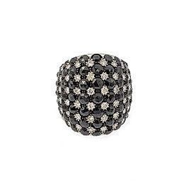 Salavetti 10ct Black & White Diamond 18k White Gold Large Dome Ring Size 7.5