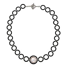 Charriol Diamond Mother of Pearl 18k White Gold Steel Pendant Necklace