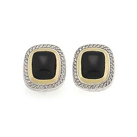 David Yurman Albion Diamond Onyx 18k Gold 925 Silver Huggie Earrings