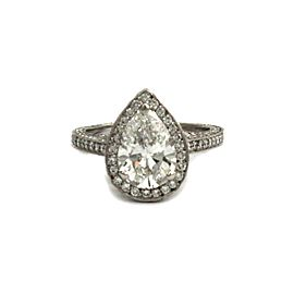 Pear Shape 3.30ct Diamond Solitaire w/Accent Platinum Ring Certified GIA