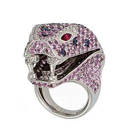 Stunning 14.6ct Diamond Sapphire Ruby 18k White Gold Large Snake Head Ring