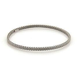Tiffany & Co. Somerset 18k White Gold 4mm Wide Mesh Bangle Bracelet