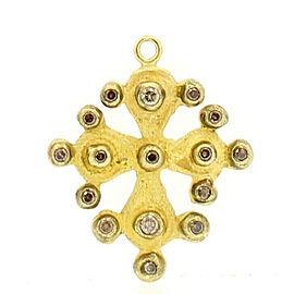 FINE ESTATE 18K YELLOW GOLD CROSS COGNAC DIAMOND CHARM PENDANT
