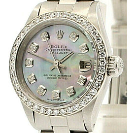 Ladies ROLEX Oyster Perpetual Datejust 26mm TAHITIAN Dial Stainless Diamond
