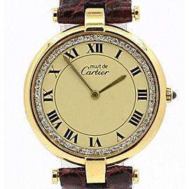 CARTIER Must De Cartier Vermeil Gold Sterling Roman Diamond Dial 30mm Watch