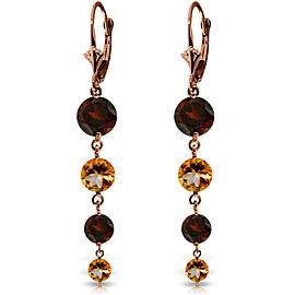 7.8 CTW 14K Solid Rose Gold Chandelier Garnet Citrine Earrings