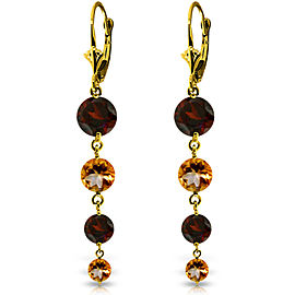 7.8 CTW 14K Solid Gold Drizzle Garnet Citrine Earrings