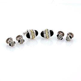 David Yurman Onyx 14k Yellow Gold & Silver Cable Cufflinks & 4 Stud Set