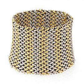 "Estate 18k Two Tone Gold 2"" Wide Basket Weave Mesh Flex Bracelet"