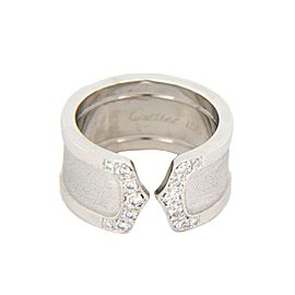 Cartier Double C Diamond 18k White Gold 10mm Wide Band Ring Size 51-US 5.5