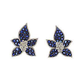 Stunning 23.11ct Sapphire Diamond 18k White Gold Flower Post Clip Earrings