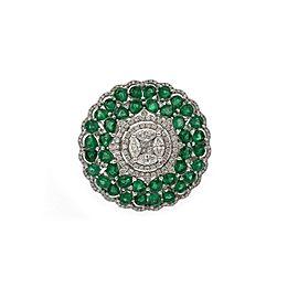 Estate 5.85ct Diamond Emerald 18k White Gold Round Floral Dome Ring Size 7
